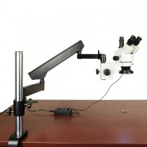 3.5X-90X Trinocular Zoom Stereo Microscope on Articulating Arm Boom Stand with 144 LED Ring Light