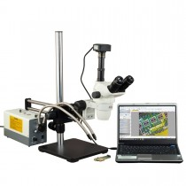 OMAX 2X-270X USB3 14MP Simal-focal Zoom Stereo Microscope on Ball-Bearing Boom+150W Dual Fiber Light