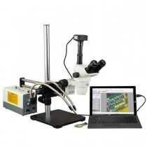 OMAX 2X-270X USB3 5MP Simal-focal Zoom Stereo Microscope on Ball-Bearing Boom+150W Dual Fiber Light