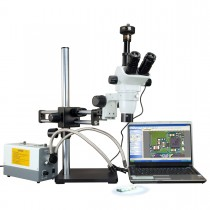 2X-270X Simal-focal Zoom Stereo Microscope with 150W Cold Dual Fiber Light and 9.0MP Camera