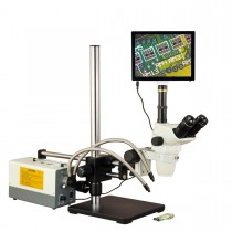 OMAX 2X-270X Touchscreen Simal-focal Stereo Microscope on Ball-Bearing Boom+150W Dual Fiber Light