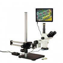 OMAX 6.7X-45X Touchscreen Simal-focal Stereo Microscope on Ball-Bearing Boom + 144-LED Ring Light