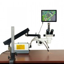 OMAX 2X-270X 5MP Touchscreen Simal-focal Stereo Microscope on Articulating Arm+150W Dual Fiber Light