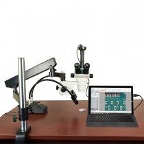 OMAX 6.7-45X Simal-focal Stereo Microscope on Articulate Arm Stand with 6W LED Light and 3MP Camera