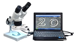 OMAX Binocular Stereo Microscope 20X-40X with Ring Light & USB Camera