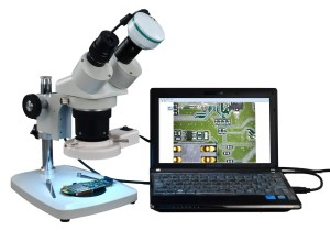 Binocular Stereo Microscope w/ Fluorescent Ring Light 2MP Camera