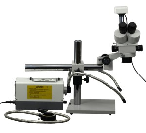 3.5X-90X Zoom Boom Stand Trinocular Stereo Microscope with 3.0MP USB Camera and 150W Light System